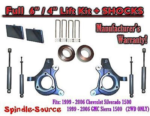 "99-07 Chevy Silverado GMC Sierra 1500 Spindle Lift Kit 6"" / 4"" Offset + SHOCKS"