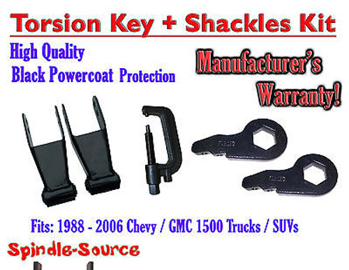 """FORGED Lowering Torsion Keys 2"""" - 3"""" 88 - 06 Chevy GMC 1500 + 2"""" Shackles + TOOL"""
