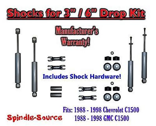 "Shock Kit for 88 - 98 Chevrolet / GMC C1500 w/ Drop Coils Flip Kit 3"" / 6"" 3/6"