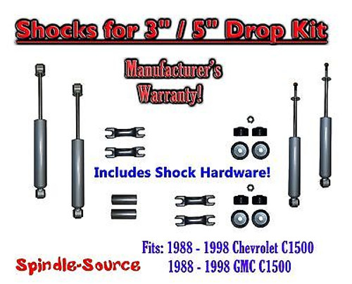 """Shock Kit for 88 - 98 Chevy / GMC C1500 w/ Drop Coils Flip Kit Shackles 3"""" / 5"""""""