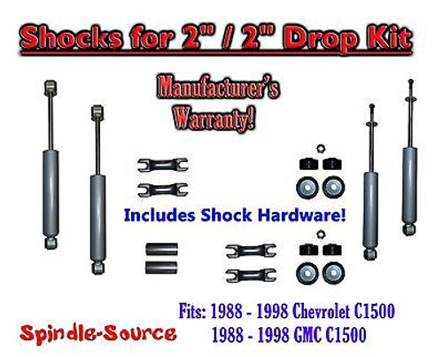 """Shock Kit for 88 - 98 Chevy / GMC C1500 w/ Lowering Coils Drop Shackles 2"""" / 2"""""""