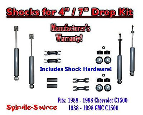 """Shock Kit for 88 - 98 Chevy / GMC C1500 w/ Spindles Drop Coils Flip Kit 4"""" / 7"""""""