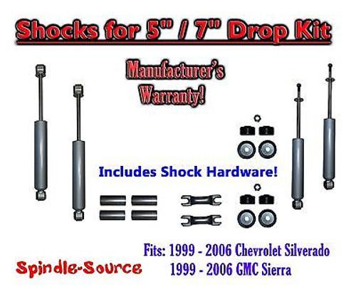 "Shock Kit for 99 - 06 Silverado Sierra w/ Spindles Drop Coils Flip Kit 5"" / 7"""