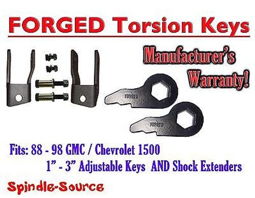 Torsion Level FRONT FORGED LIFT KEYS + EXTENDER 1988 - 98 Chevrolet GMC 1500 3in