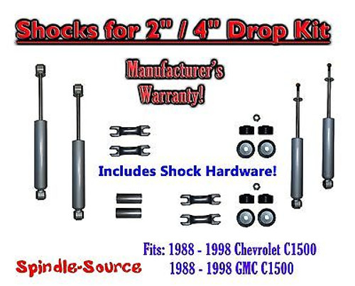 """Shock Kit for 88 - 98 Chevy / GMC C1500 w/ Spindles Drop Shackles Hanger 2"""" / 4"""""""