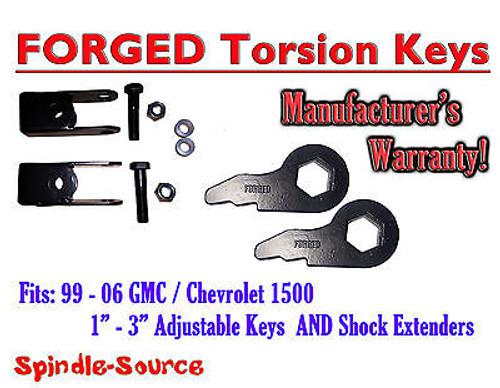 Torsion Level FRONT FORGED LIFT KEYS + EXTENDER 1999 - 06 Chevrolet GMC 1500 3in