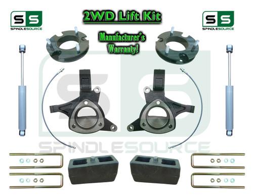 "2015+ Silverado Sierra 1500 2WD 7"" / 5"" Lift Spindle Kit STAMPED / ALUM + SHOCKS"