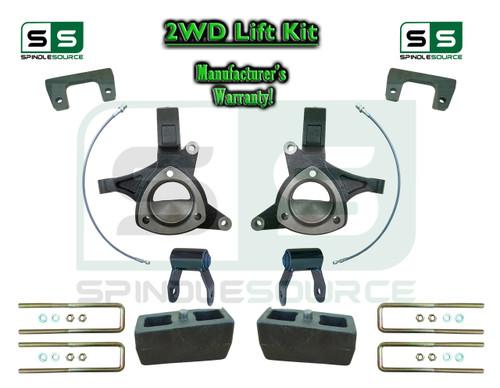 "2015+ Silverado Sierra 1500 2WD 6"" / 4"" Lift Spindle Kit Shackles STAMPED / ALUM"