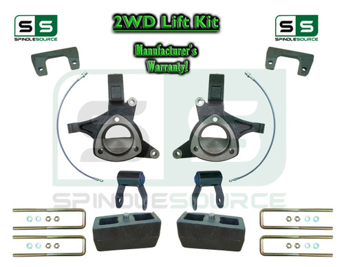 "2015+ Silverado Sierra 1500 2WD 6"" / 5"" Lift Spindle Kit Shackles STAMPED / ALUM"