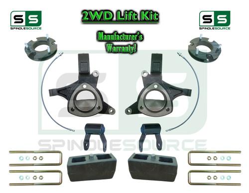 "2015+ Silverado Sierra 1500 2WD 7"" / 5"" Lift Spindle Kit Shackles STAMPED / ALUM"