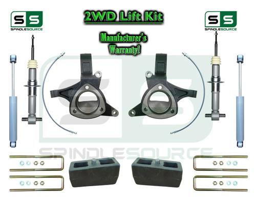 "15+ Silverado Sierra 1500 2WD 6"" / 4"" Lift Spindles STRUT Shock Kit STAMPED ALUM ARMS"