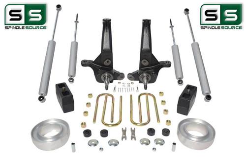 "2001-2010 Ford Ranger 2WD 7""/4"" Lift Kit Spindles/ Blocks/ Fr Spacers /4 Shocks"