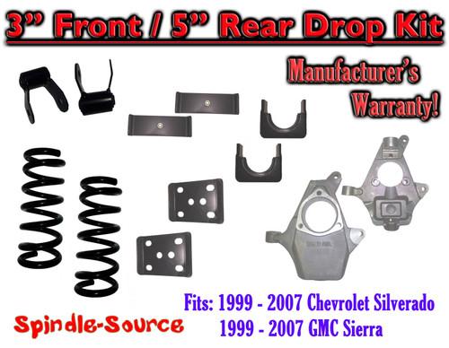 "99 - 07 Chevrolet Silverado / GMC Sierra 1500 V6 3"" / 5"" Lowering Drop kit (Spindles / Coils)"