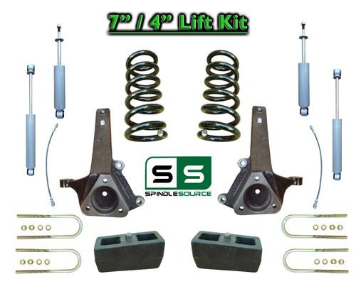 """02 - 08 Dodge Ram 1500 2WD 7"""" Front 4"""" Rear Spindle COIL Lift Kit SHOCKS  V6 Eng"""