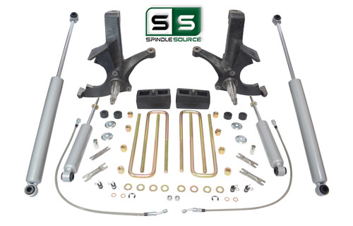 """4.5""""/3"""" SPINDLES,BLKS,4 SHOCKS W/OUT O.L. FITS 88-00 CHEVY C2500/C3500 2WD 8 LUG"""