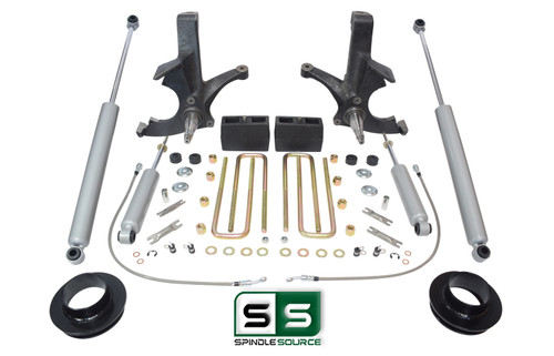 """7""""/5"""" SPINDLES,BLKS,SPACER,SHOCKS WO/O.L. FITS 88-00 CHEVY C2500/C3500 2WD 8 LUG"""