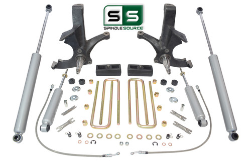 "4.5""/2"" SPINDLES,BLOCKS, 4 SHOCKS W/O.L. FITS 88-00 CHEVY C2500/C3500 2WD 8 LUG"