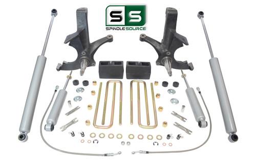 "4.5""/4"" SPINDLES,BLOCKS,4 SHOCKS W/O.L. FITS 88-00 CHEVY C2500/C3500 2WD 8 LUG"