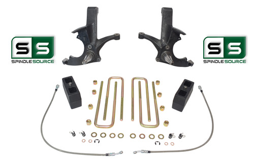 """4.5""""/4"""" LIFT SPINDLES,BLOCKS,W/OUT O.L. FITS 88-00 CHEVY C2500/C3500 2WD 8 LUG"""