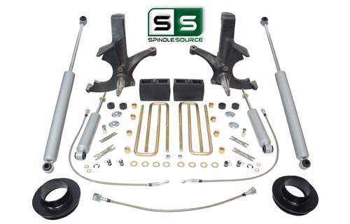 6.5/4 SPINDLES,BLKS,SPCR,BKLN,SHCK W/O.L. FITS 88-00 CHEVY C2500/C3500 2WD 8 LUG