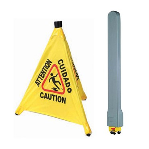 Yellow Plastic, Caution-Wet floor sign. Written in English and Spanish. Includes a Wall-Mount Holder for the sign.