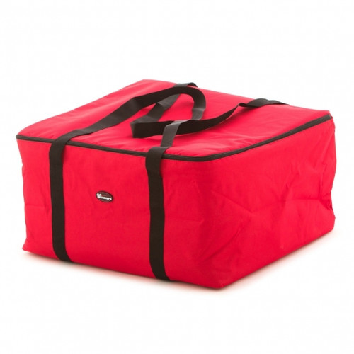Insulated Pizza Delivery Bag. Red, made of Polyester with foam liner. Capacity of 6 boxes and heat retention up to 6 hours.