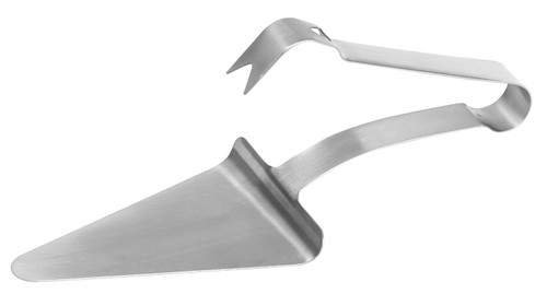 """Made of 18/8 stainless steel, 5-1/2"""" x 4-1/2"""".  This item allows you to easily serve slices of pizza and in a sanitary way. The arm secures the slice to ensure that it does not fall when serving."""
