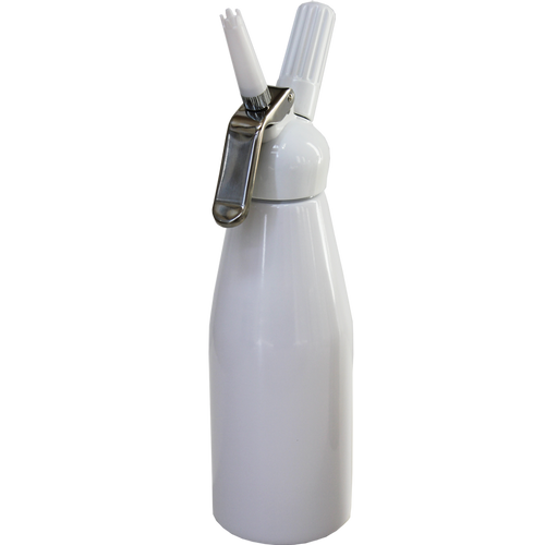 White, made of Anodized Aluminum. Use your own recipe to make and dispense your own whipped cream from scratch. N2O Cartridges/Chargers are required for use.