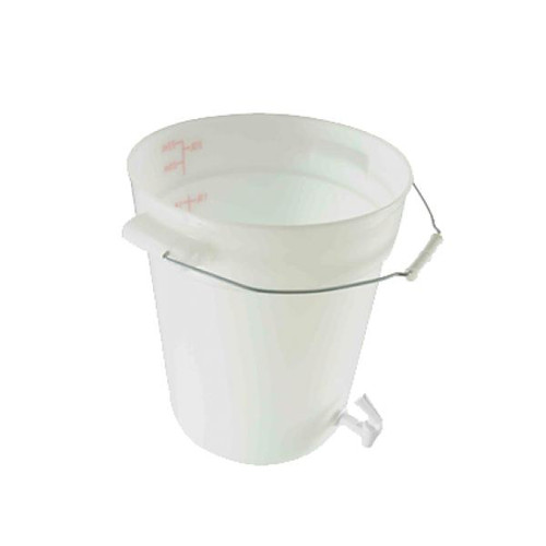 6 gal. Beverage Dispenser with Spout/Faucet - White, Polypropylene. Non-insulated. Can withstand temperatures from -40 to 160 degrees F. Lid included.