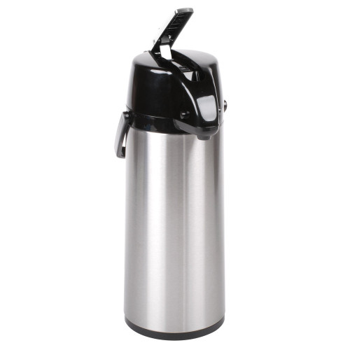 2.5L/84.5oz Capacity. Has thermal glass liner for maximum temperature retention. Durable stainless steel finish with black trim. Keeps coffee, tea, or hot chocolate warm for 6-8 hours. Lever action for easy dispensing. Has swivel base.