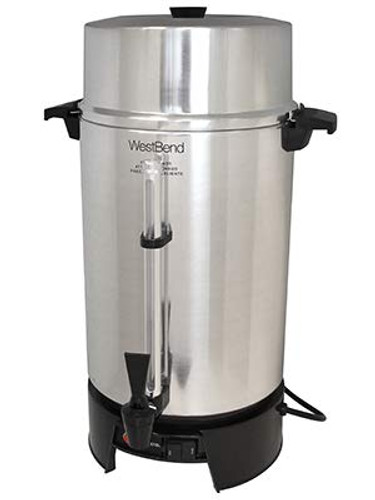 4 gal. capacity Can make (100) 5-oz. cups in 70 mins. or fewer Electric unit does not need fuel can maintenance Polished aluminum construction 2-way, drip-resistant spigot Twist-on cover has a stay-cool, phenolic base, handles, and a knob Signal light activates when coffee is ready Dual, high-limit thermostat keeps product from overheating CE approved; cULus listed; NSF certified