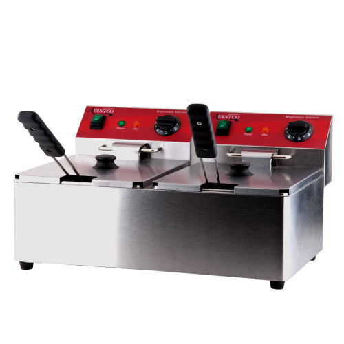 Each tank has a 10 lb capacity - 120V, 3500W. Has individual thermostatic controls for each tank ranging between 120 and 370 degrees F. S/S - with removable fry tank making it easier to clean and maintain. Fryer basket has a front hanger for setting above oil. Comes with and night cover and crumb tray. Has 2 individual cords for wall plug in.