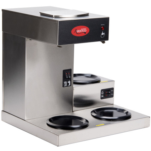 """12 Cup Electric Coffee Maker - with 3 warmers. Brews up to 56 cups per hour (3.5 gallons). Independently controlled, top and bottom Teflon warmers keep coffee hot while the next pot is brewing. 120V/1,690W, 60 hertz, 1-phase, 14 amps.  Dimensions:  16 1/4""""W X 13 3/4""""D X 16 3/4""""H"""