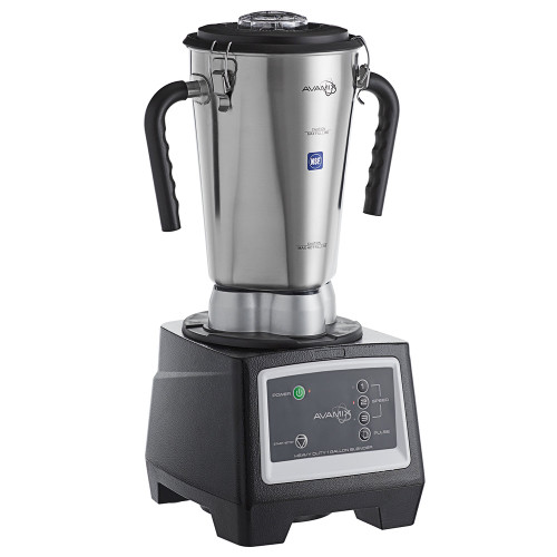 3 3/4 hp, 1 Gallon Stainless Steel High Volume Commercial Blender - 120V, 1800W.  Has 2-piece lid and clamps ensuring a proper seal.  There are 3 speed options with a pulse button as well.