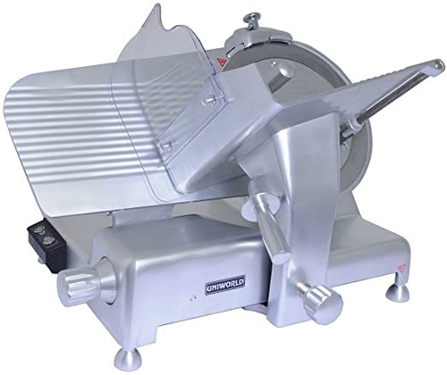 """All parts that come in contact with food are anodized aluminum for safe use and easy cleaning. The powerful, high quality, quiet induction motor and tilted design are perfect for low volume operations. Heavy-duty, anodized aluminum base won't pit or rust. Stainless steel blade. Electrical: 110V / 60Hz .65 H.P.     Belt driven 14"""" X 11.5"""" Product Tray Up to 1 1/8"""" cut thickness Built-in sharpener Splashguard included"""
