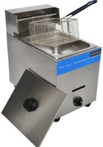 Stainless steel construction Double wall, insulated body Rear-riser-mounted basket hanger Sturdy mesh-style s/steel fry basket with coated handle Gas control knob. Includes cover Includes LPG hose with adapter Specifications  Features: 1 wells, 1 baskets Fat Cap.: 10Liter BTU: 25000 Basket Size: 7x8x4.25″ Product Dims: 11.5×18.5×19″