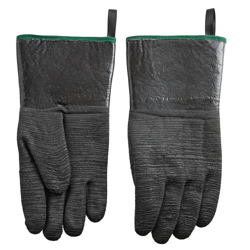 Withstands intermittent temperatures up to 500 degrees Fahrenheit Textured design on all 5 fingers enhances grip and dexterity for increased safety Great for handling hot foods and liquids, or for greasy applications Neoprene rubber exterior with polyester lining is comfortable to wear and prevents sticking to wet hands One-size-fits-most design and easy to rinse clean or machine wash  Uses: Food Handling  Heat Protection  Oil Protection  Steam Protection   Hot Liquid Protection