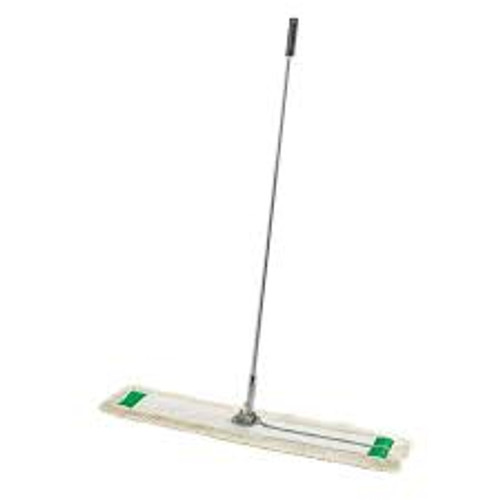 """36"""" wide mop head with a 60"""" long lightweight aluminum handle. Mop has nylon backing and zippered closure for easy removal. Mop heads are washable and reusable."""