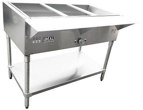 """Ideal Steam Tables offer a new concept for food warmer units. A heavy gage stainless steel front and sides complement the 16 gage welded stainless steel water pan along with a 8"""" front cutting board to hold serving or preparation plates. Water pans come with a 1 1/4"""" diameter drain (on the Bain Marie Style) for easy cleaning and unloading water."""