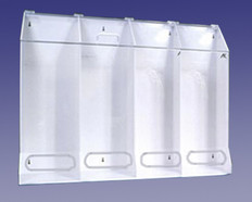 "AKLTD #AK-JN4-C 4-Compartment Safety Supply Holders - Clear Acrylic - 40""W X 30""H X 10""D inches"