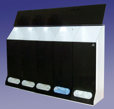 """KLTD #AK-JN5-S 5-Compartment Safety Supply Holders - Smoke Acrylic - 45""""W X 30""""H X 10""""D inches"""