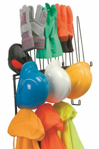 PPE Storage Rack, Holds 4 Hard Hats, 4pr. Gloves, 4 sets of rain-wear, Shelf for hats or earmuffs