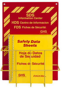 MSDS Right-To-Know Center, 3 language- Includes MSDS sign, 1.5 inch binder, and wire rack (
