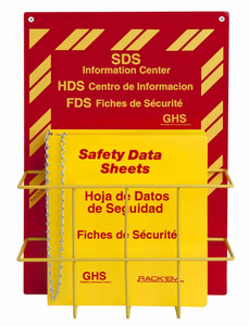 MSDS Right-To-Know Center, 3 language- Includes MSDS sign, 3 inch binder, and wire rack