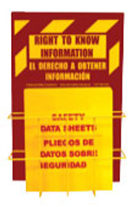 "Right-To-Know Center With Sign, Wire Rack and MSDS Binder (1.5"" Diameter Rings) - Bilingual English/Spanish"