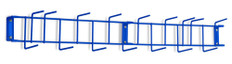 36 inch Utility / Sanitation Rack, (16) 2-1/2 inch Hooks, Blue - Detail