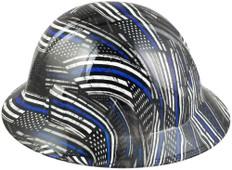 HDHH-1641-FB Blue Lives Matter FULL BRIM Hardhats - Ratchet Suspension ~ Left Side View