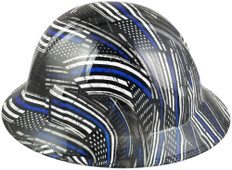 HDHH-1641-FB Blue Lives Matter FULL BRIM Hardhats - Ratchet Suspension ~ Left Side View