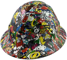 Sticker Bomb 5 Burning Flames Large Skulls FULL BRIM Hardhats - Ratchet Suspension - Oblique View