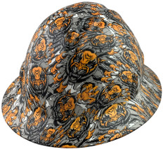 Fighting Tiger Design Full Brim Hydro Dipped Hard Hats - Oblique View